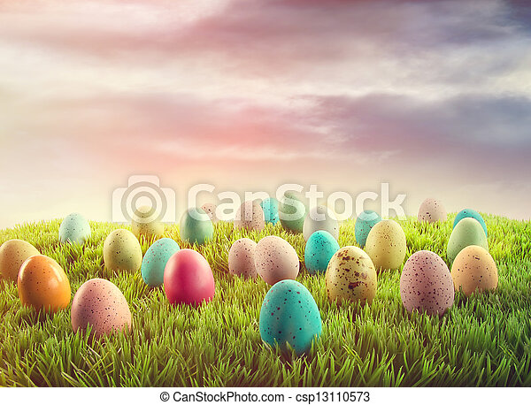 Easter eggs in grass  - csp13110573