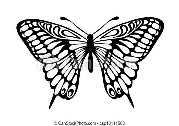 Vector Clip Art de negro, blanco, mariposa, aislado - hermoso ...