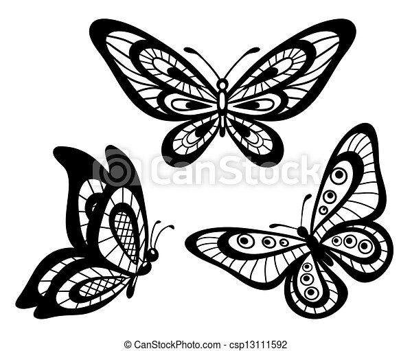 Coloring pages coloring pages optical illusions coloring pages - Eps Vectors Of Black And White Lace Butterflies Set Of
