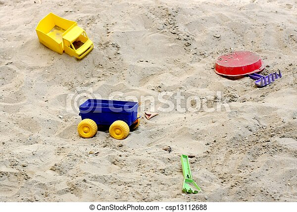 Sandbox with toys - csp13112688