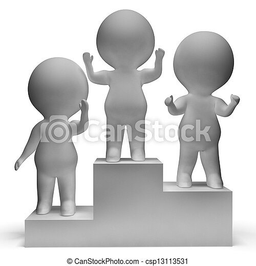 Podium With 3d Characters Shows First Place And Winning - csp13113531