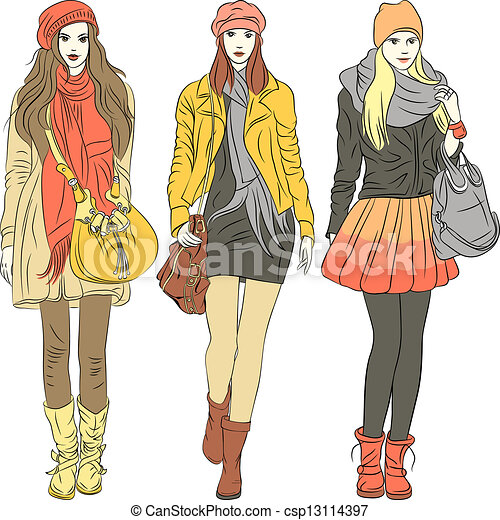 Vector fashion stylish girls in warm clothes - csp13114397
