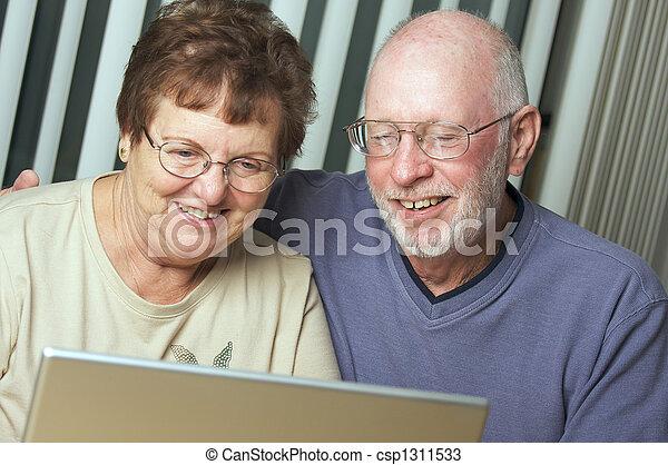 Senior Adults on Laptop Computer - csp1311533