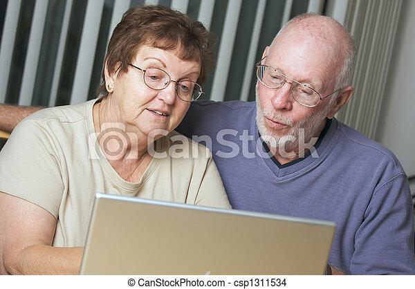 Senior Adults on Laptop Computer - csp1311534