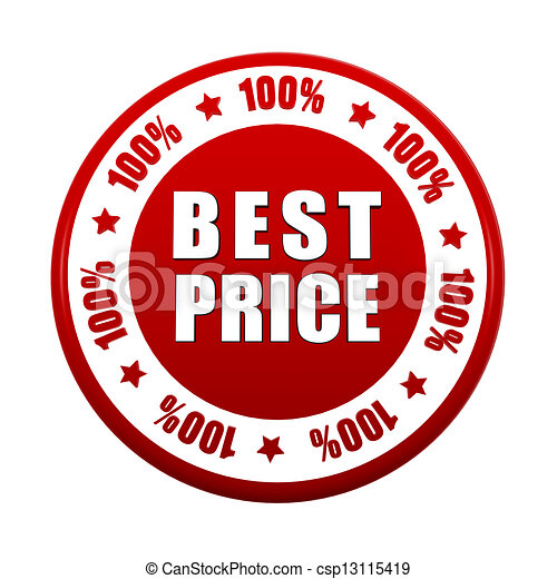 Clipart of 100 percentages best price 3d red circle label - 100 ...