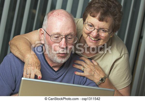Senior Adults on Laptop Computer - csp1311542