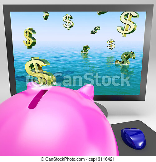 Dollar Symbols Drowning On Monitor Showing Financial Disaster - csp13116421