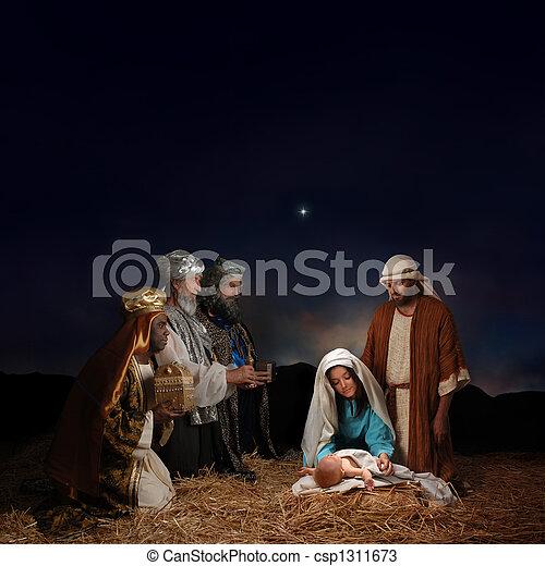 natività, uomini, saggio, Natale - csp1311673