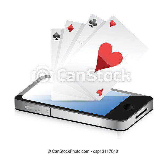 Smartphone Gambling - Poker Aces. - csp13117840