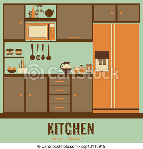 vector clip art of kitchen - illustration kitchen with appliances