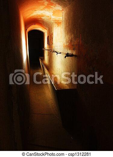military barracks antique bathroom - csp1312281