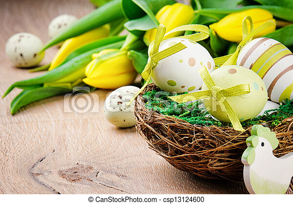 Easter eggs in holiday setting - csp13124600