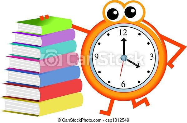 Stock de Ilustraciones de libro, tiempo - caricatura, reloj ...