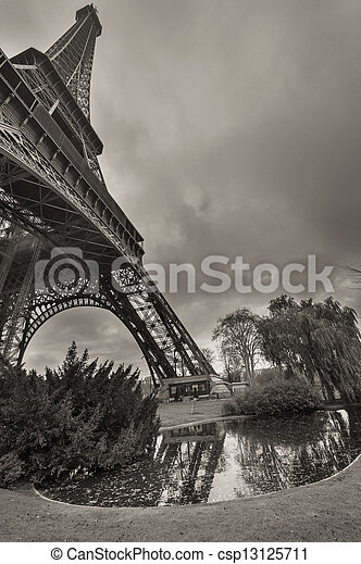 Magnificence of Eiffel Tower, view of powerful landmark structure, Paris - France - csp13125711