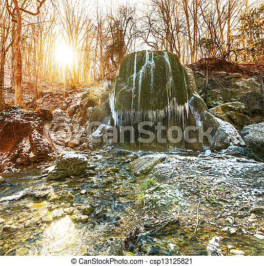 Waterfall in forest - csp13125821