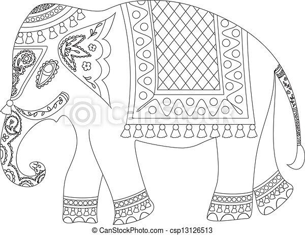 Clip art vecteur de l phant indien indian l phant csp13126513 recherchez des images - Elephant indien dessin ...
