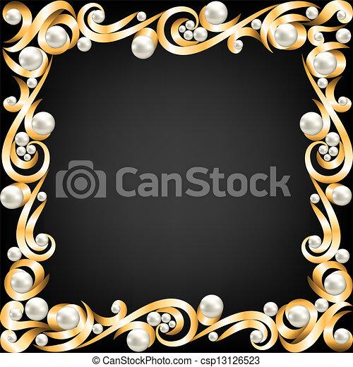 金子, 珠宝, 框架, 珍珠 - csp13126523