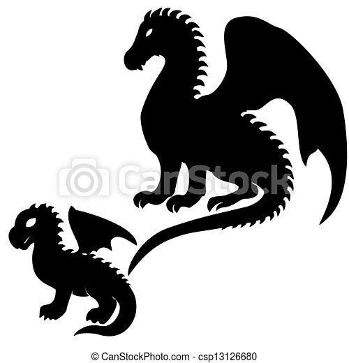 Vector de Adulto, y, bebé, dragón, Siluetas - Conjunto, de, Adulto ...