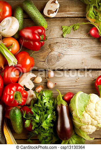 Healthy Organic Vegetables on a Wood Background - csp13130364