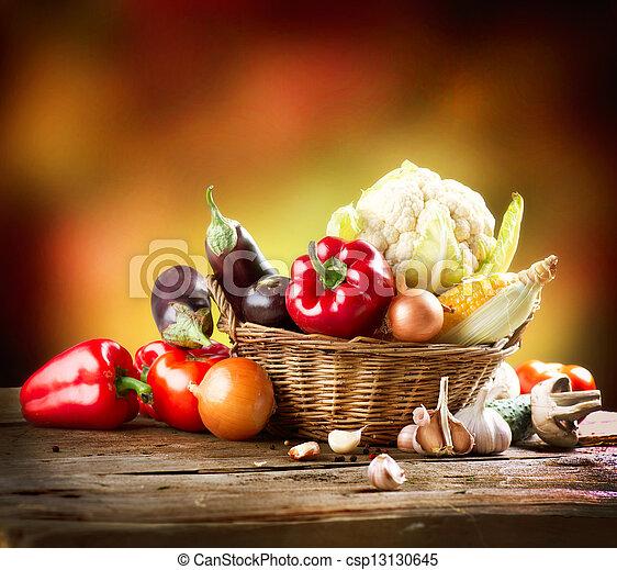 vida, orgânica, saudável, legumes, desenho, arte, ainda - csp13130645