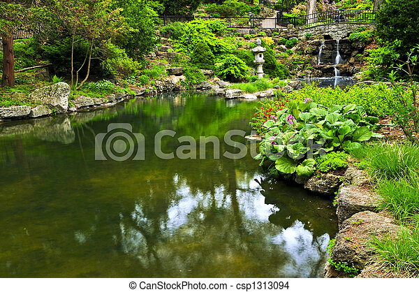 Cascading waterfall and pond - csp1313094