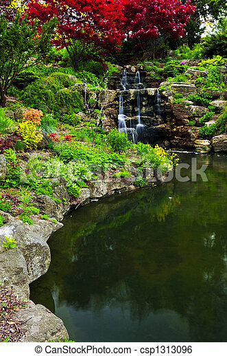 Cascading waterfall and pond - csp1313096