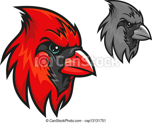 Red cardinal bird in cartoon style - csp13131751