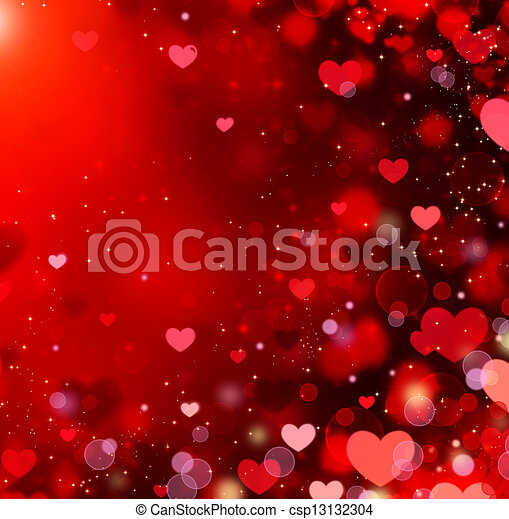 Valentine Hearts Abstract Red Background. St.Valentine's Day - csp13132304
