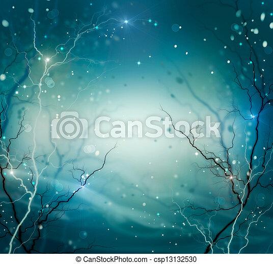 冬, 背景, 抽象的, 自然, ファンタジー, 背景 - csp13132530