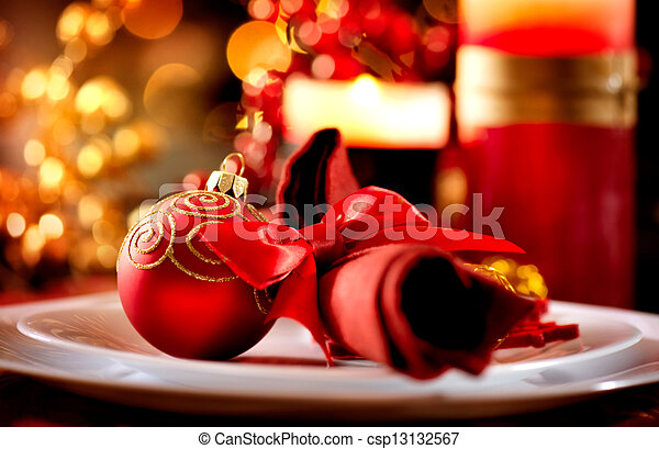 Stock Image of Christmas Table Setting Holiday Decorations