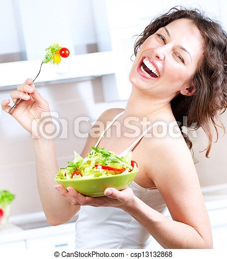 Diet. Healthy Young Woman Eating Vegetable Salad - csp13132868