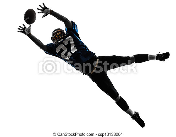 american football player man catching receiving silhouette - csp13133264