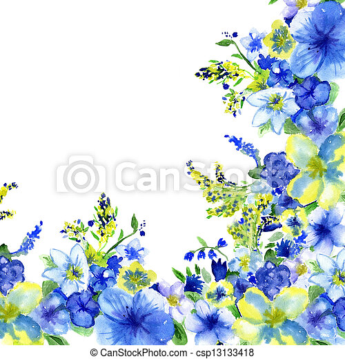 watercolor dark blue and yellow flowers on a white background - csp13133418