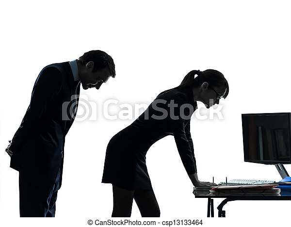 business woman man couple sexual harassment silhouette - csp13133464