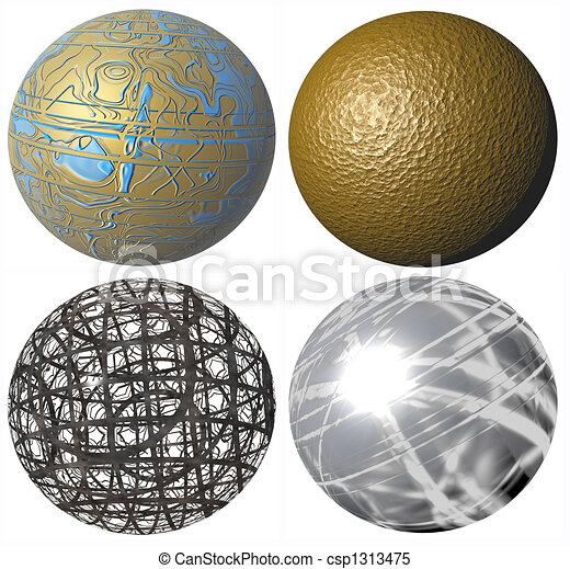 colored abstract pattern metallic spheres high quality rendered from 3d - csp1313475