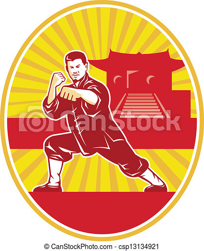 martial-arts-kung-fu-stance-oval - csp13134921