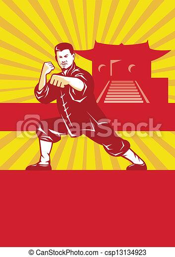 Shaolin Kung Fu Martial Arts Master Retro - csp13134923
