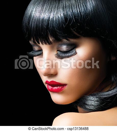 Fashion Brunette Girl Portrait close-up  - csp13136488