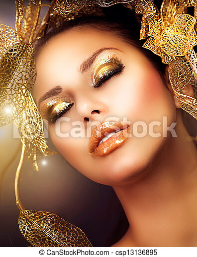 Fashion Glamour Makeup. Holiday Gold Makeup  - csp13136895