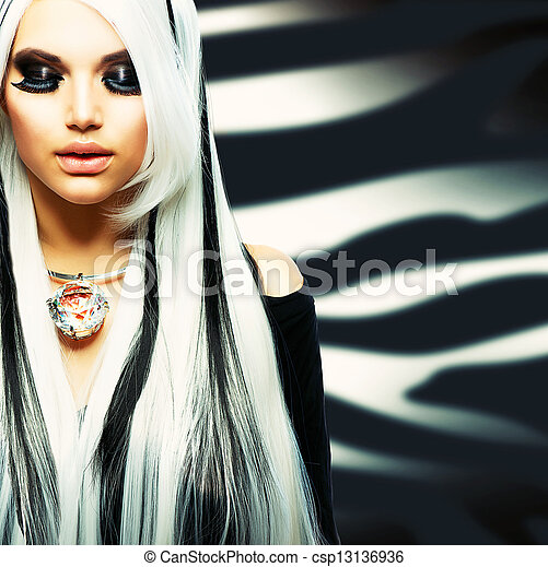 Beauty Fashion Girl black and white style - csp13136936