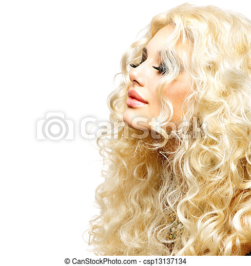 Beauty Girl With Healthy Long Curly Hair. Blonde Woman - csp13137134