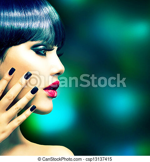 Fashion Woman Profile Portrait. Vogue Style Model  - csp13137415