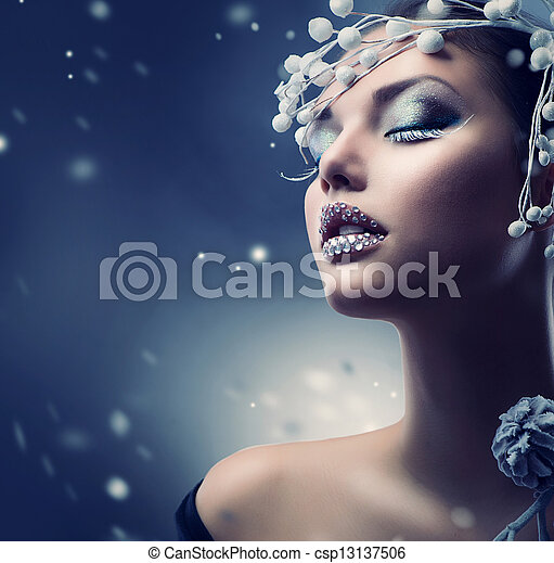 Winter Beauty Woman. Christmas Girl Makeup  - csp13137506
