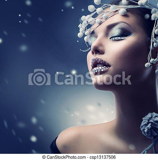 Winter Beauty Woman. Christmas Girl Makeup  - csp13137506