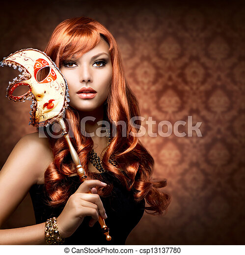 Beautiful Woman with the Carnival mask - csp13137780