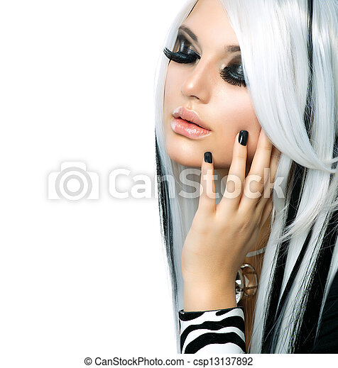 Beauty Fashion Girl black and white style. Long White Hair - csp13137892