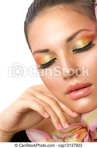 Beautiful Woman Face. Perfect Makeup - csp13137923