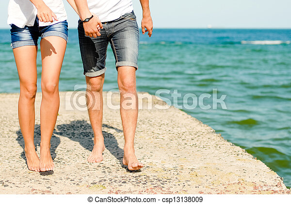 Young couple loving & kissing on the sea side