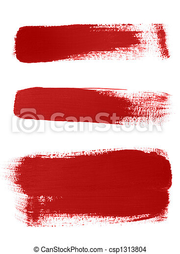 Red brush strokes on white background - csp1313804