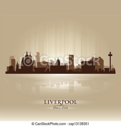 Liverpool England skyline city silhouette - csp13138351